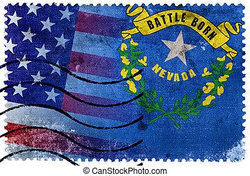 taxa postal, antigas, eua, selo, -, bandeira estatal, nevada