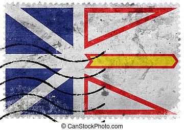 taxa postal, antigas, labrador, selo, província, bandeira, canadá, newfoundland
