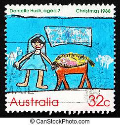 taxa postal, austrália, selo, 1988, cena natividade, natal