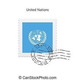 taxa postal, bandeira, nações unidas, stamp.
