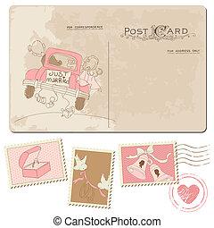 taxa postal, cartão postal, vindima, -, desenho, convite,...