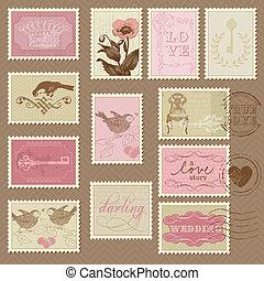taxa postal, -, desenho, convite, selos, retro, casório, ...