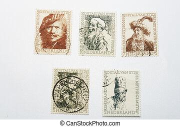taxa postal, diferente, antigas, selos, cinco, rembrandt