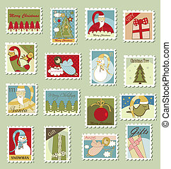 taxa postal, grande, selos, jogo, natal