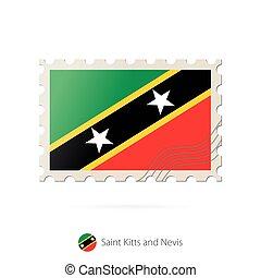 taxa postal, kitts, selo, flag., imagem, são, nevis