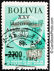 taxa postal, mapa, bolívia, la, selo, 1966, braços, américa, paz, sul