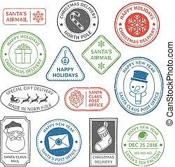 taxa postal, natal, jogo, norte, papai noel, correio, stamp., etiqueta, marca, polaco, vetorial, letra, selos, carimbo postal, poste, feriado, xmas, cartão