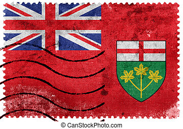 taxa postal, ontário, selo velho, bandeira, canadá, província