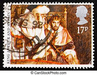 taxa postal, rei, merlin, selo, 1988, arthur, gb