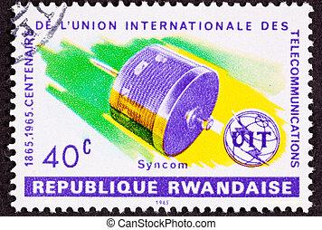 taxa postal, satélite, selo, anos, ruanda, syncon,...