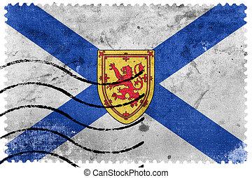 taxa postal, scotia, selo velho, nova, bandeira, canadá, província