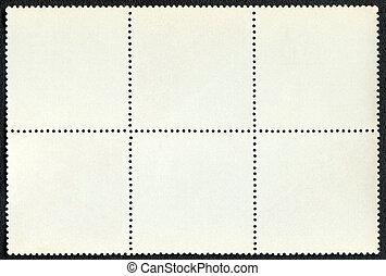taxa postal, seis, formulou, selos, em branco, bloco
