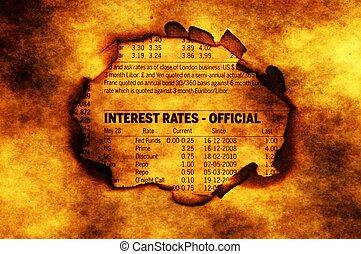 taxas juros, texto, ligado, papel, buraco