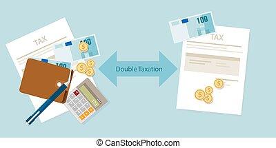 taxation, paiement, double, taxed, deux fois, concept