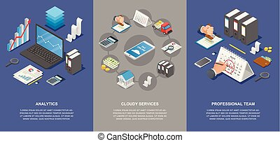 Taxes accounting money banner set, isometric style