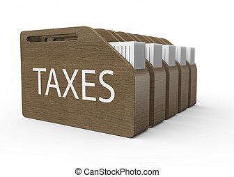 Taxes as concept - Wooden box with taxes as a concept