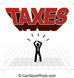 taxes burden concept, man under the big taxes structure