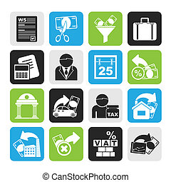 Taxes, business and finance icons