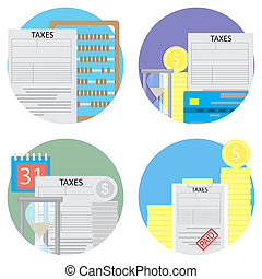 Taxes count and pay a set of icons
