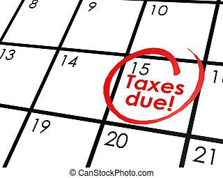 Taxes due on white calendar