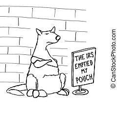 Taxes Emptied Pouch - Cartoon about taxes emptying the...