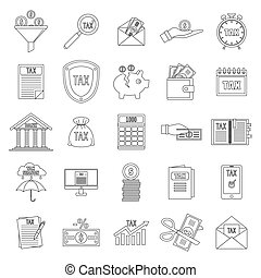 Taxes icons set, outline style