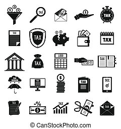 Taxes icons set, simple style