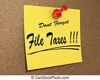 taxes., olvídese, archivo, haga no