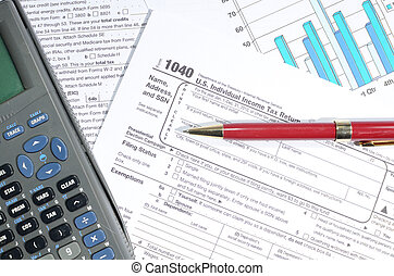 Taxes - Paperwork including 1040 for calculating taxes.