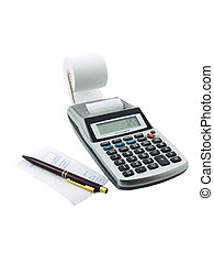 Taxes - Photo of a tax calculator with a paper slip and pen...