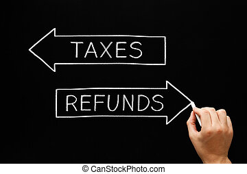 Taxes Refunds Arrows Concept Blackboard - Hand sketching...