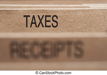 Taxes section tab in folding file.