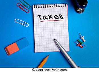 Taxes word