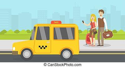 taxi, été, bagage, mobile, vacances, illustration, touristes, appelé, vecteur, aventure, téléphone, voyage, couple