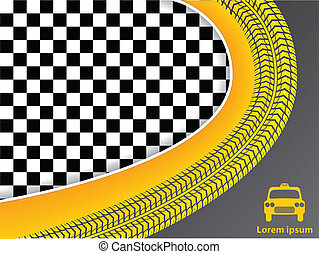 Taxi advertisement design with checkered background