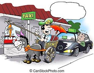 taxi, alternativa, conductor