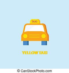 taxi, amarillo, icono