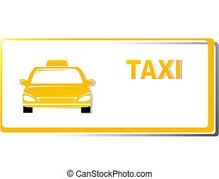 taxi, amarillo, tarjeta comercial