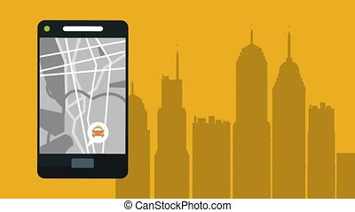 Taxi app from smartphone HD animation - Taxi app from...