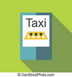 Taxi app in phone icon, flat style