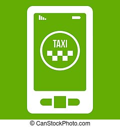 Taxi app in phone icon green