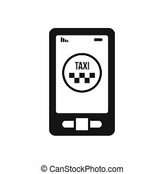 Taxi app in phone icon, simple style