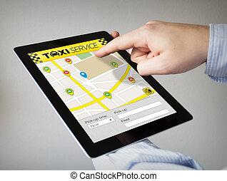 taxi app on a tablet