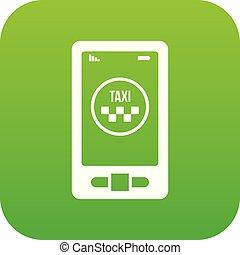 taxi, app, téléphone, vert, numérique, icône