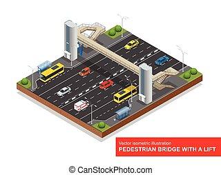 taxi, ascenseur, 3d, ambulance, vecteur, autobus, sedan, ville, isométrique, stop., autobus, highway., piéton, sur, plat, illustration., mini, ensemble, traffic., ascenseur, pont