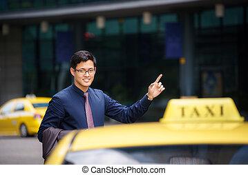 taxi, autó, munka, kilépő, ázsiai, üzletember, hívás
