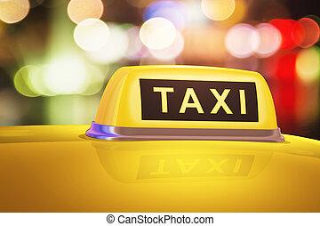 taxi, autó, sárga cégtábla