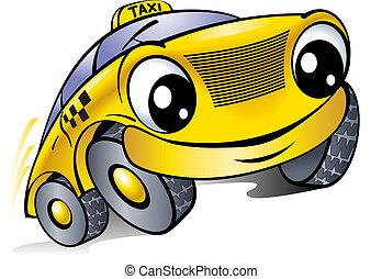 taxi., auto, face., lachender