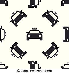 taxi, auto, grijze , illustratie, vrijstaand, achtergrond., vector, seamless, model, witte , pictogram
