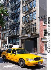 taxi, bâtiments, usa, jaune, york, taxi, nyc, nouveau, soho